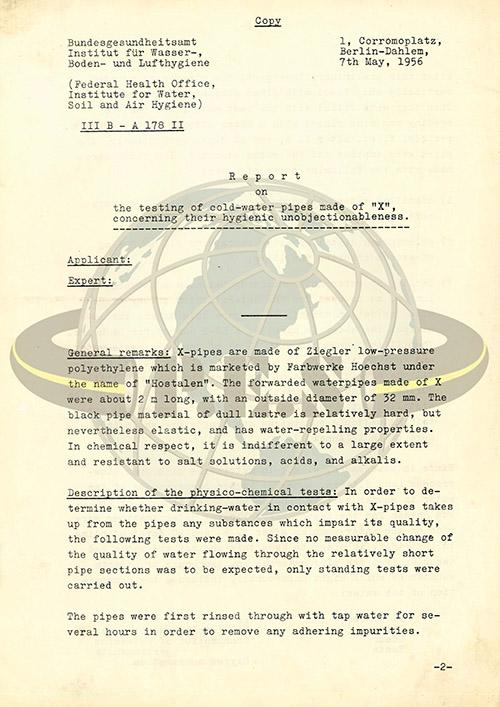 اولین گواهینامه آب آشامیدنی برای لوله پلی اتیلن